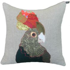 Cockatoo Green Cushion by Carola van Dyke