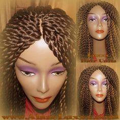 Brown Wig #4 #6 #27 NEW Natural Look! Handmade Senegalese Twist Wig Unit! Glueless Lace Finish! 18'