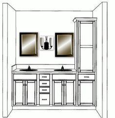 double bathroom vanity with linen cabinet | Aaaa-mazing Master Bath