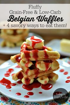 Fluffy Grain-Free & Low-Carb Belgian Waffles | These grain-free, low-carb Belgian waffles are truly versatile and can serve both sweet and savory purposes. They seamlessly make the transition from Sunday morning with maple syrup to weekday dinner with pizza toppings or taco fixin's! | TodayInDietzville.com