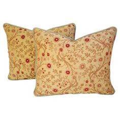 Check out this item at One Kings Lane! French Embroidery Silk Pillows, Pair