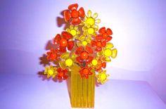 VINTAGE ORANGE YELLOW GROOVY FLOWER SCULPTURE mcm 60s 70s lucite acrylic retro Hippie Flowers, Space Age, Orange Yellow, Retro Vintage, Mid Century, Sculpture, Color, Colour, Sculptures
