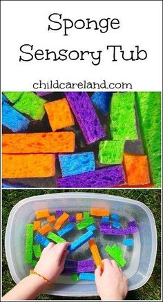 Sponge Sensory Tub Pinned by /pediastaff/ – Please Visit for all our pediatric therapy pins Tap the link to check out fidgets and sensory toys! Happy Hands T Sensory Tubs, Sensory Boxes, Sensory Diet, Baby Sensory Play, Baby Play, Classroom Activities, Preschool Activities, Infant Classroom Ideas, Preschool Shapes