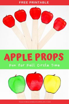 Download these free apple themed circle time printable props for toddlers and preschoolers to hold while listening to books and singing! #apples #fall #autumn #circletime #virtualteaching #music #literacy #printable #classroom #teachers #2yearolds #3yearolds #teaching2and3yearolds Preschool Apple Activities, Preschool Apple Theme, Circle Time Activities, Toddler Preschool, Preschool Ideas, Preschool Food, Children Activities, Autumn Activities, Apple Theme Classroom