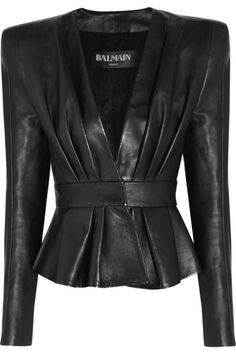 Black leather Padded shoulders, engraved gold snap fastenings at cuffs, pleated front, peplum, fully lined Concealed hook fastenings at front 100% leather (Calf); lining: 52% viscose, 48% cotton Specialist clean