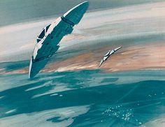 Ralph McQuarrie concept art for Battlestar Galactica Star Wars Poster, Star Wars Art, Star Trek, Science Fiction Art, Science Art, Kampfstern Galactica, Battlestar Galactica 1978, Space Battles, Vintage Television