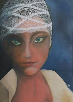 Donna con pizzo _ Olio su tela su cartone e vernice smaltata _ 2015