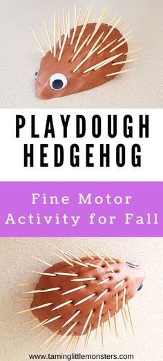 This playdough hedgehog is a fun and easy fine motor activity for Fall/Autumn. Toddlers and preschoolers can use toothpicks, straw, sticks or q-tips to create this wonderful animal. #Fall #autumn #finemotor #toddler #preschool Playdough Activities, Animal Activities, Infant Activities, Animal Crafts, Preschool Art, Toddler Preschool, Preschool Themes, Preschool Learning, Cute Kids Crafts
