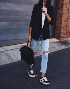faded cropped ripped jeans + white tee + black vans + black blazer