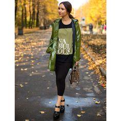green raincoat - great style