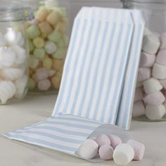 Pastel blue and white striped candy sweet bags which can be used as favour bags or bought as extra bags for our Candy Bar Kit. Place then on your sweet or dessert table and let guest fill them up with lots of lovely sweet treats. Diy Wedding Stationery, Bespoke Wedding Invitations, Wedding Favours, Wedding Reception, Candy Bar Bautizo, Blue Candy Bars, Wholesale Party Supplies, Sweet Bar, Baby Shower Balloons