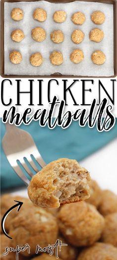 BEST CHICKEN MEATBALLS Baked Chicken Meatballs, Chicken Meatball Recipes, Delicious Dinner Recipes, Appetizer Recipes, Yummy Food, Appetizers, Tasty, Duck Recipes, Turkey Recipes