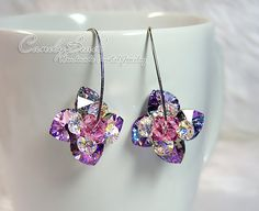 Magic Purple Flowers Swarovski Crystal Earrings on by candybead, $18.00
