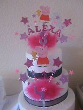 peppa pig cake toppers | PEPPA PIG CAKE TOPPER WITH AGE AND STARS PICK YOUR OWN COLOURS