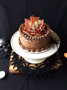 Halloween Caramel Chocolate Cake With Nutella Frosting