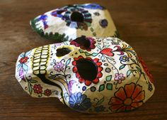 Paper mache Day of the Dead masks