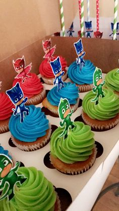 Pj Masks Cupcake Toppers, Pj Mask Cupcakes, July Birthday, 3rd Birthday Parties, Pj Mask Party Decorations, Pjmask Party, Pj Masks Birthday Cake, Festa Pj Masks, Disney Cars Party