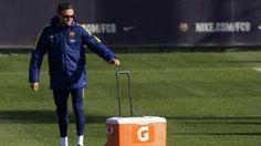 Luis Enrique en un entrenamiento del FC Barcelona esta temporada 2015-2016