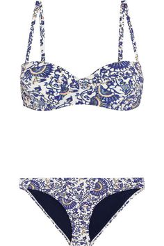 blue printed bikini || Tory Burch