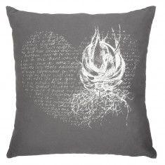 Heart Aloe Cushion Cover – White on grey
