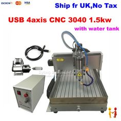 1790.00$  Buy now - http://ali4wj.worldwells.pw/go.php?t=32760506381 - (EU Free Taxes!) 4axis 1500w CNC 3040 router USB port drilling machine ball screw engraving machine with water sink for metal 1790.00$