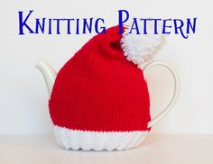 Santa Hat Tea Cozy Instant Download PDF Knitting Pattern $4.83 on Etsy at http://www.etsy.com/listing/153375341/instant-download-pdf-knitting-pattern