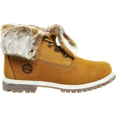 Timberland Leather faux-fur fold-down boots ($165) ❤ liked on Polyvore featuring shoes, boots, foldable shoes, fold over leather boots, heavy duty boots, faux fur boots and round cap