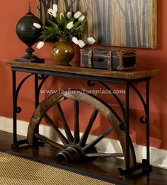 GroovyStuff Teak Winchester Wall Table. Antique wagon wheel is used to shape this signature piece. rustic decor