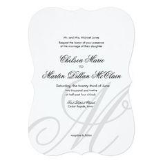 Simple Elegant Monogram white wedding invite