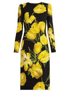 DOLCE & GABBANA Tulip-Print Long-Sleeved Crepe Dress. #dolcegabbana #cloth #dress