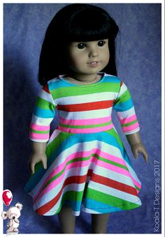 Listing includes one, Regatta Tee Knit Dress. Dress has velcro closure at the back for easy on and off. Hand sewn by Me, using upcycled, pre-washed, knit fabric. I am not affiliated with any Doll company. The outfit is professionally sewn with interior edges finished. Doll is not included.  Fits 18 dolls like: My Life As, Our Generation, Journey Girls, Madame Alexander, American Girl, Newberry Dolls, Springfield Girls TollyTots