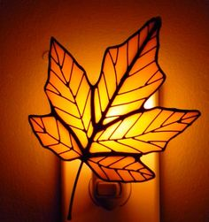 Yellow Stained Glass Maple Leaf Night Light by OriskanyGlass