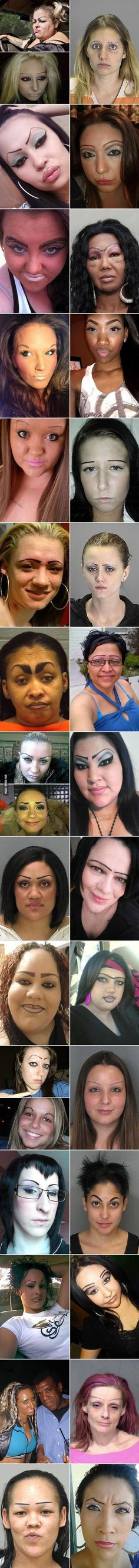 Drawn in eyebrows are so distracting even when you think you look good. Im sure these ladies thought they were on point but really they look like clowns.