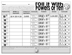 "Roll It! With Powers of 10 is a fun dice game used to solidify students understanding of how to multiply and divide decimals by a power of ten. I love this worksheet, and so do my students. It's funny how adding a dice to an activity increases the ""FUN"" level."
