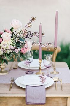 rose gold wedding mauve and gold wedding reception table settings # Mauve Wedding, Rose Wedding, Wedding Colors, Purple Wedding Flowers, Elegant Wedding, Dream Wedding, Wedding Reception Tables, Wedding Table Settings, Harvest Decorations