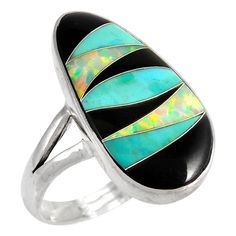 Sterling Silver Ring Turquoise Black Opal R2027-C39