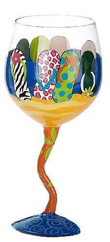 Evergreen Flip Flop Wine Glass by Evergreen. $10.19. Imported. Enjoy a glass of wine in this hand painted wine glass from Evergreen.The artful design on this wine glass has the flip flop lover in mind.Beautifully decorated with a colorful flip flop design. 14 oz. wine glass measures 4.75'' x 7''.. Save 40% Off!