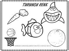 TURUNCU RENK Pre School, Preschool Activities, Mobile App, Montessori, Worksheets, Children, Kids, Coloring Pages, Kindergarten