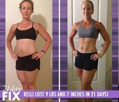 Kelli Lost 9 lbs and 7 inches in just 3 weeks with the 21-Day Fix Program. You can lose inches fast with this amazing Beachbody program