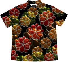 Modern Flowers All Over cotton short sleeve blouse by valxart $72.00