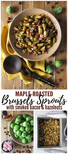 Roasted Brussels sprouts caramelised in Canadian maple syrup & flavoured with smoked back bacon. Perfect for Thanksgiving! In collaboration with OXO UK. Asian Side Dishes, Dinner Side Dishes, Vegetable Side Dishes, Vegetable Recipes, Beef Recipes, Cooking Recipes, Sprout Recipes, Recipies, Thanksgiving Dinner Sides