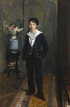 Jules Bastien-Lepage Portrait of a Young Boy, 1881 oil on canvas 62 x 40 cm Carl Spitzweg, Antoine Bourdelle, Sailor Outfits, Vintage Artwork, Young Boys, Pastels, Oil On Canvas, Fine Art, Lepage
