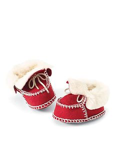 red shearling booties