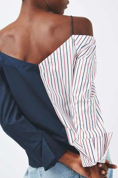 Off shoulder bardot blouse with contrast stripe and navy panels. #Topshop