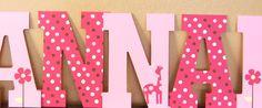 "Ava mod giraffe nursery letters, name, girl, pink, polka dots, flowers, wood, custom, 13"" , wall decor, baby shower gift"