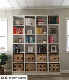 """Jules Yap su Instagram: """"Looks like a KALLAX but it's not. @mostlyneutrals tells us it's four BILLY bookcases hacked to be a single unit. Why not get a KALLAX…"""" Billy Bookcase Hack, Billy Bookcases, Kallax, Ikea Hacks, Shelving, The Unit, Instagram, Home Decor, Shelves"""