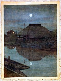 """Hasui Kawase is one of the best known artists of the """"Shin Hanga"""" (new prints) movement. His prints, landscapes and townviews, were created in traditional Japanese style with Western elements. Hasui had a very close cooperation with the publisher Watanabe. In the fires following the devastating earthquake in 1923, over a hundred blocks produced so far, were destroyed. In 1956, one year before his death, the artist was declared a Living National Treasure."""