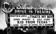 Marquee for Silver Dollar Drive-In in Albuquerque, New Mexico. Closed long ago.