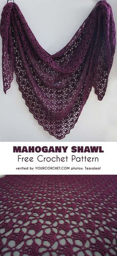 Mahogany Shawl Free Crochet Pattern Here is a classic shawl pattern. This shawl is simply a must for every crocheter. The Mahogany Shawl is an amazing realization of the South Bay Shawlette. This light triangle shawl is about 46 Poncho Au Crochet, Beau Crochet, Crochet Shawls And Wraps, Crochet Scarves, Crochet Stitches, Crochet Patterns, Lace Shawls, Crochet Cape, Cross Stitches