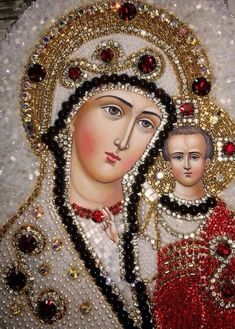 Mother Mary Quotes, Blessed Mother Mary, Blessed Virgin Mary, Religious Icons, Religious Art, Virgin Mary Art, Seed Bead Art, Jesus E Maria, Jesus Photo